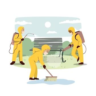 Arbeiter, die öffentliche räume desinfizieren