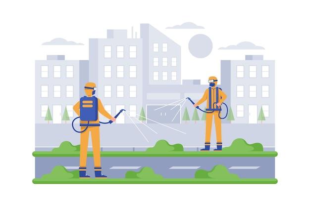 Arbeiter, die öffentliche räume reinigen