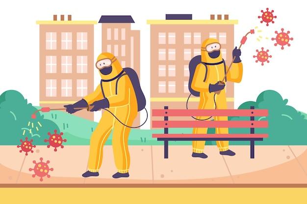 Arbeiter, die reinigungsdienste im freien anbieten
