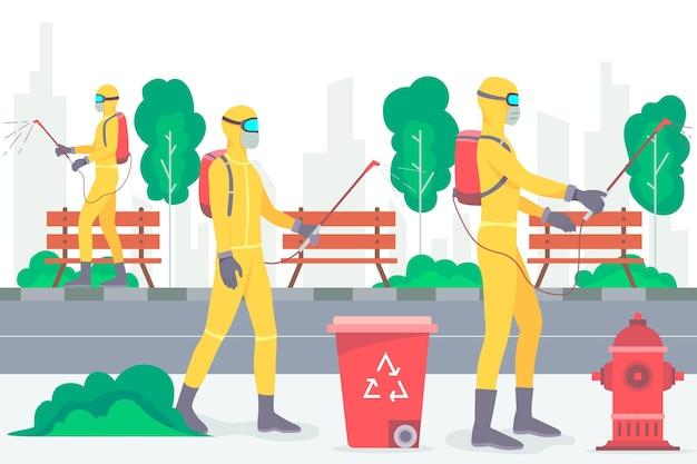 Arbeiter, die reinigungsdienste im öffentlichen raum anbieten
