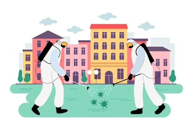 Arbeiter, die reinigungsdienste im öffentlichen raum anbieten Kostenlosen Vektoren