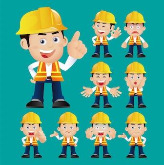 Arbeiter eingestellt verschiedene gesten und emotionen