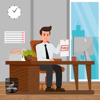 Arbeiter-entlassung-karikatur-vektor-illustration