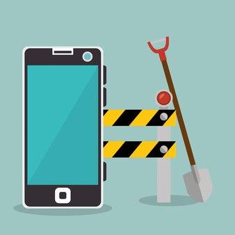 Arbeiter im bau mit smartphone