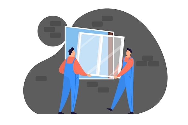 Arbeiter im einheitlichen installationsfenster. professioneller service, reparaturteam. illustration