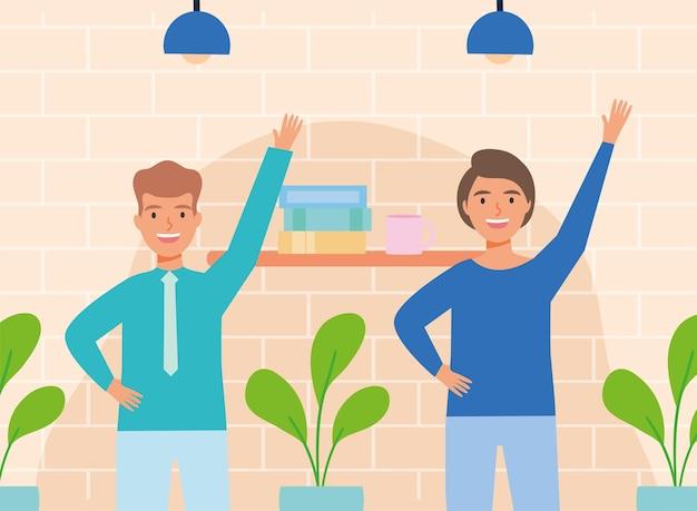 Arbeiter lächeln, aktive pause zu üben