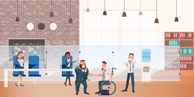Arbeiter machen erfolgreichen deal bei coworking space
