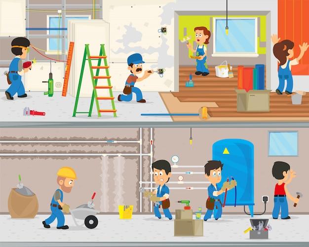 Arbeiter machen reparaturen in der wohnung.