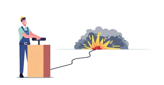 Arbeiter männlicher charakter in uniform push lever arm für tnt explosionskontrollierten gebäudeabriss. arbeiter entfernen altes haus verwenden detonation für industrielle zerstörung. cartoon-menschen-vektor-illustration
