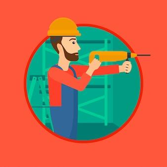 Arbeiter mit bohrhammer.