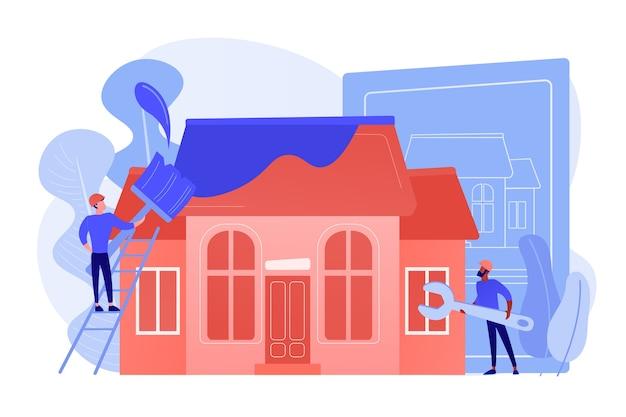 Arbeiter mit pinsel und schraubenschlüssel verbessern das haus. hausrenovierung, immobilienrenovierung, hausumbau und baudienstleistungskonzept. isolierte illustration des rosa korallenblauvektors