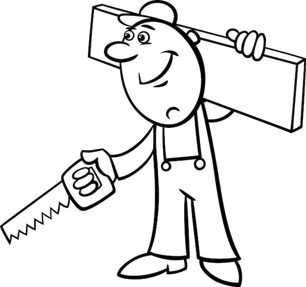 Arbeiter mit säge malvorlagen