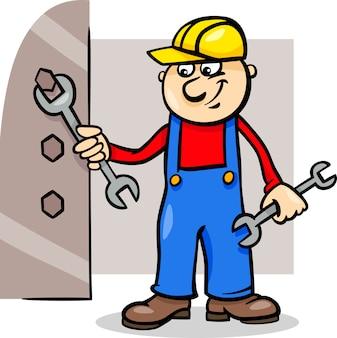 Arbeiter mit schraubenschlüssel cartoon illustration