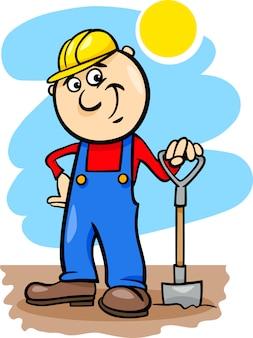 Arbeiter mit spaten cartoon illustration