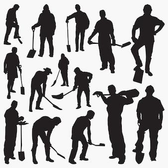 Arbeiter mit spaten silhouetten
