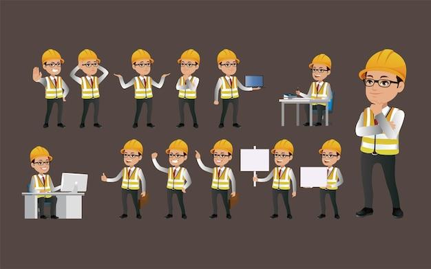 Arbeiter mit verschiedenen posen.