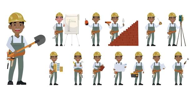 Arbeiter mit verschiedenen posen
