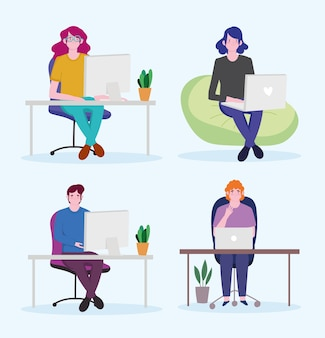 Arbeiter setzen, mann und frauen mit laptoparbeitsplatz