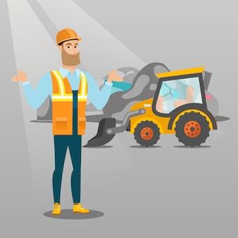 Arbeiter und bulldozer auf müllhalde.