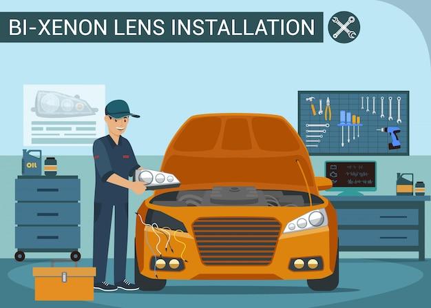 Arbeiter wechselt scheinwerfer im autoservice. scheinwerfer im fahrzeug wechseln. autowerkstatt