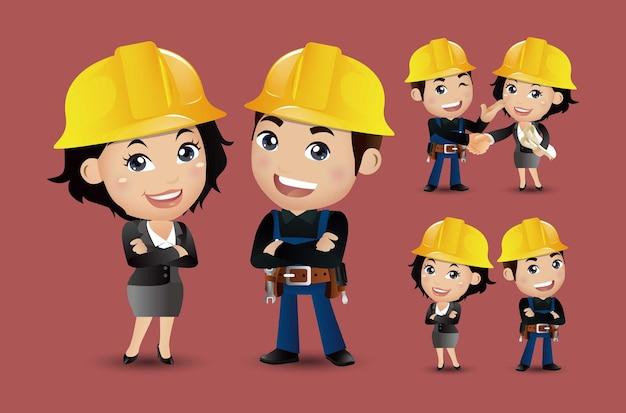 Arbeiter zusammen und händeschütteln