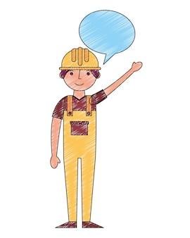 Arbeiterbau in der gelben overallspracheblase