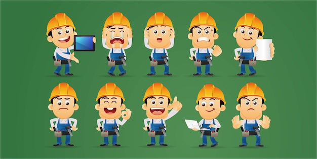 Arbeitercharaktere in verschiedenen emotionen