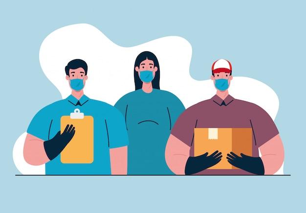 Arbeitergruppe mit medizinischen masken bei covid-19-pandemie