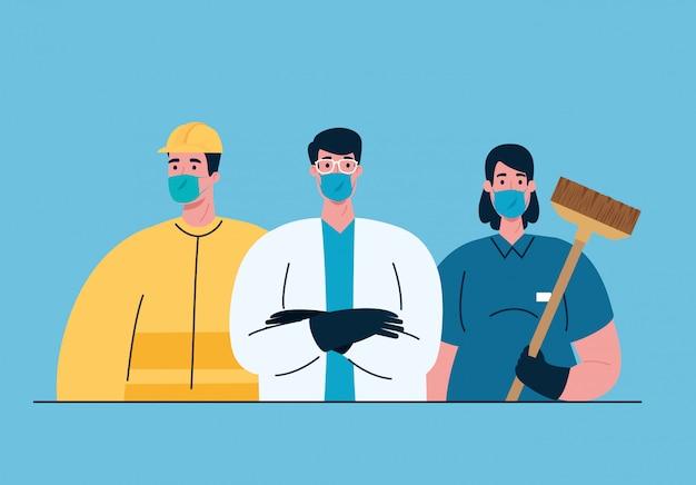 Arbeitergruppe mit medizinischen masken bei covid-19-pandemie Premium Vektoren