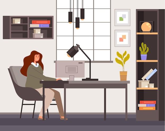 Arbeiterin der geschäftsfrau, die im innenraum des hauptzimmers sitzt und computer arbeitet.