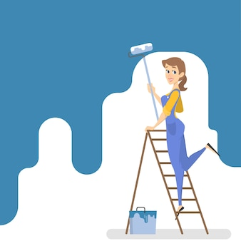 Arbeiterin, die die wand mit blauer farbe und rolle malt. lächelnde frau, die raum verziert. illustration