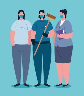 Arbeiterinnen, die während der covid-19-pandemie eine medizinische maske verwenden