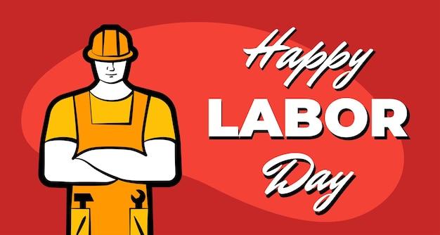 Arbeitermann in gelbem bauhelm und aufschrift glücklicher arbeitstag kann berufsarbeit leisten
