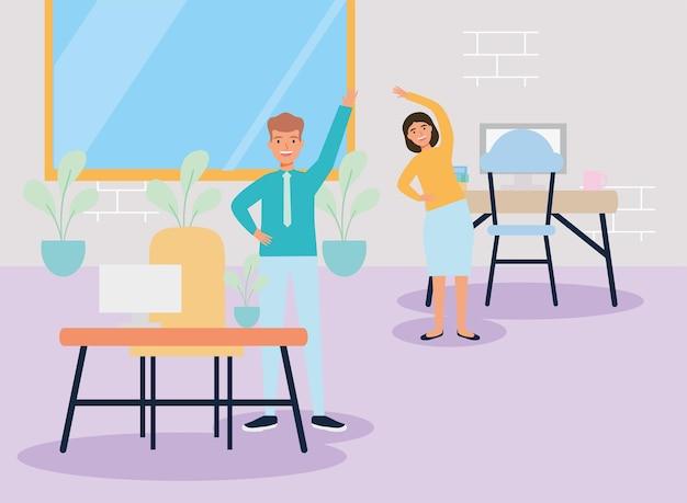 Arbeiterpaare üben aktive pause am arbeitsplatz