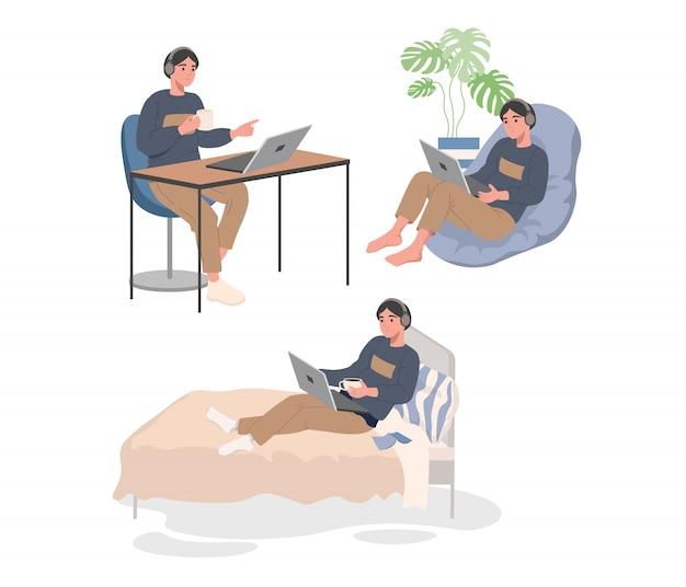 Arbeitet mit laptop auf dem bett, sessel und am tisch