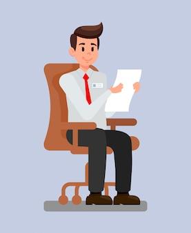 Arbeitgeber an der arbeitsplatz-karikatur-vektorillustration