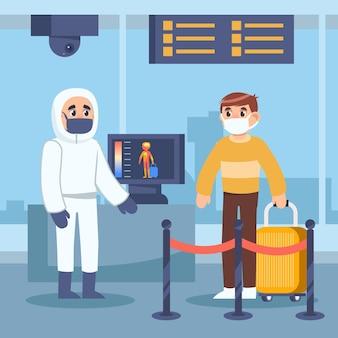 Arbeitgeber und passagier mit medizinischen masken