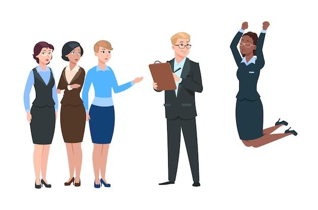 Arbeitgeber wählen arbeitnehmer. mann rekrutiert aus der menge frauen. zufriedene mitarbeiter und unzufriedene mitarbeiter. jobsuche, personalleiter und kandidaten. geschäftsförderung und erfolgsvektorillustration