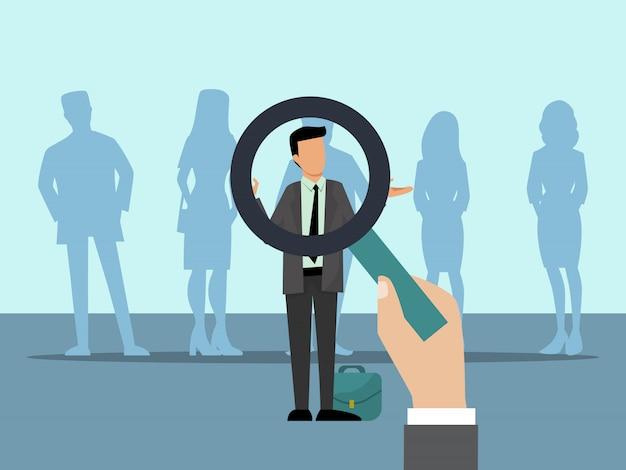 Arbeitgeber wählen kandidaten mit lupe. personengruppe und wahl des besten mitarbeiters. einstellungsvektorillustration der geschäftsangestellten.