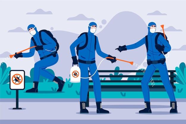 Arbeitnehmer, die reinigungsdienste in öffentlichen bereichen anbieten
