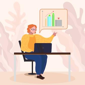 Arbeitnehmerin, die marketingstatistiken auf dem pc analysiert