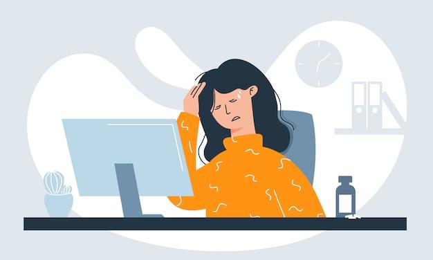 Arbeitnehmerin mit symptomen wie fieber, kopfschmerzen und halsschmerzen am arbeitsplatz aufgrund einer infektion.