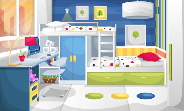 Arbeits- und schlafzimmer für kinder mit schreibtisch-computer, wandmalerei, kleiderschrank und etagenbett