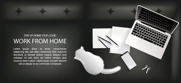 Arbeitsbereich auf dem sofa für soziale distanzierung, arbeit von zu hause aus mit reizendem haustierkonzept infografik