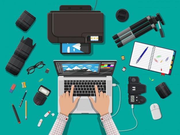 Arbeitsbereich des fotografen.