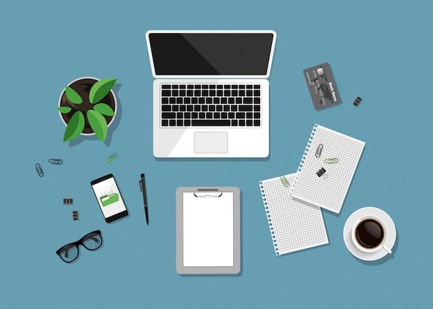 Arbeitsbereich draufsicht. moderner business-schreibtisch im trendigen stil.