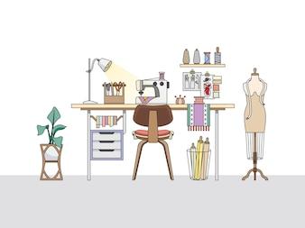 Arbeitsbereich eines Modedesigners oder eines Schneiders