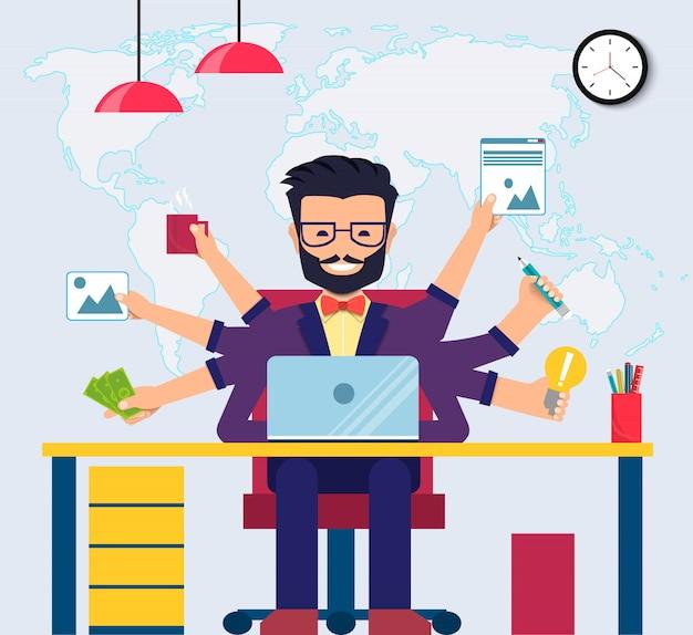 Arbeitsbereich eines professionellen entwicklers, programmierers, systemadministrators oder designers mit schreibtisch und stuhl. mitarbeiter büroarbeitsplatz. vektor eps10