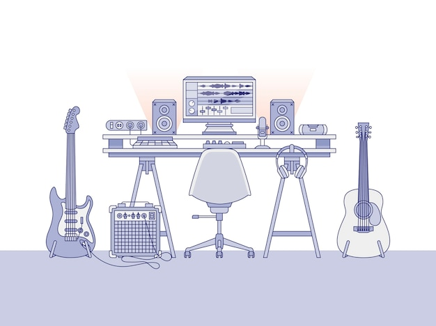 Arbeitsbereich eines toningenieurs oder eines musikproduzenten