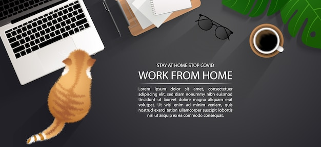 Arbeitsbereich für soziale distanzierung, arbeit von zu hause aus mit einer schönen haustierkonzept-infografik